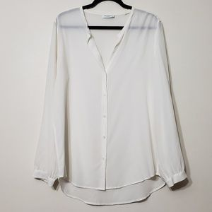 Equipment Femme White 100% Silk Button Up Blouse L